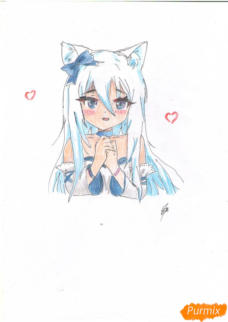 Как нарисовать собственную аниме девушку Эми карандашами поэтапно