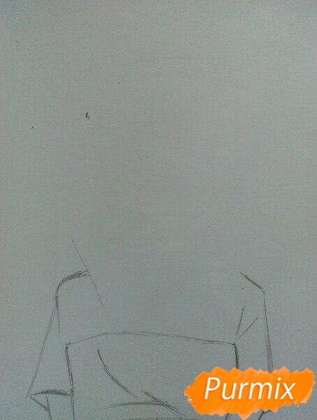 Рисуем сонную аниме девочку цветными карандашами - шаг 1