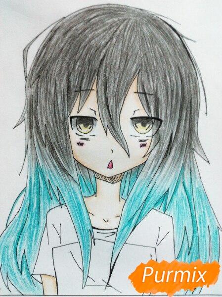 Рисуем сонную аниме девочку цветными карандашами - шаг 11