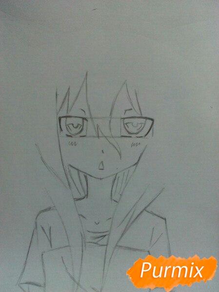 Рисуем сонную аниме девочку цветными карандашами - шаг 4