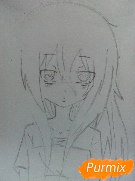 Рисуем сонную аниме девочку цветными карандашами - шаг 5