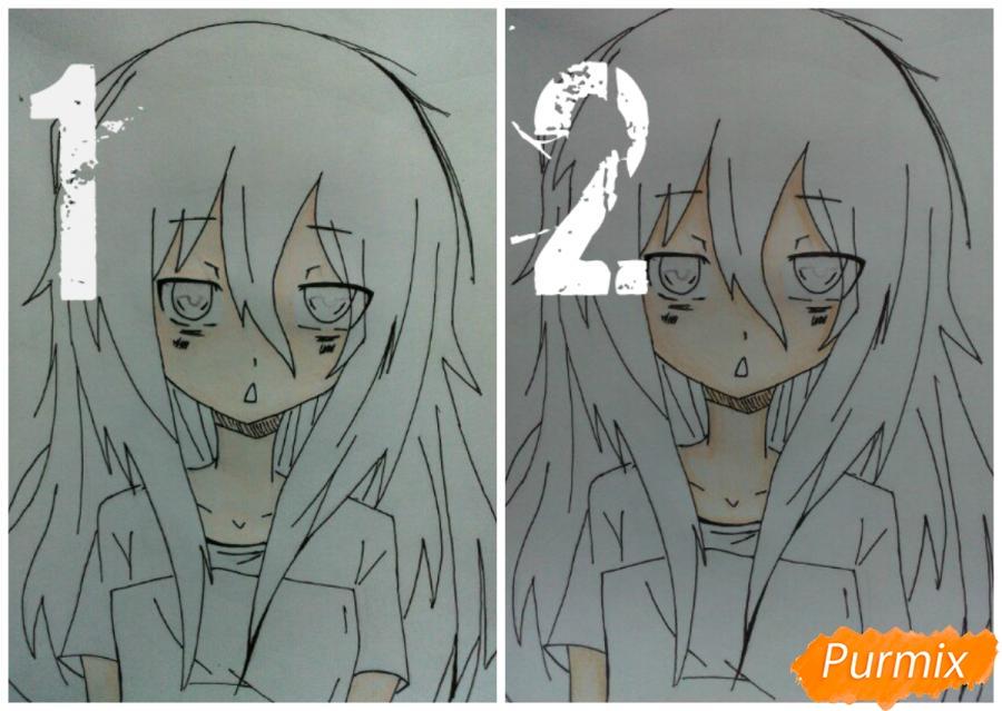 Рисуем сонную аниме девочку цветными карандашами - шаг 8