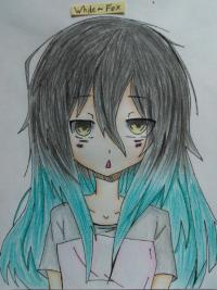 сонную аниме девочку карандашами