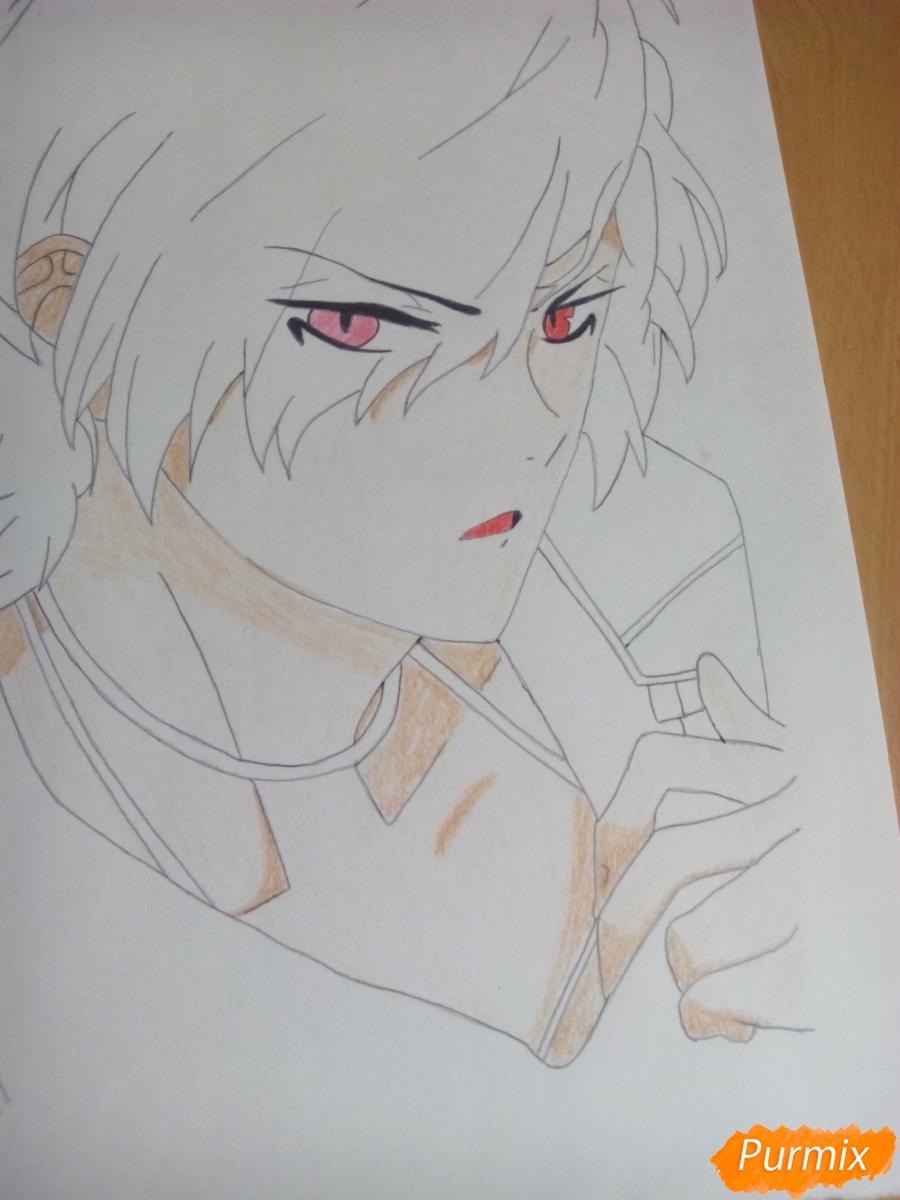 Рисуем Субару Сакамаки цветными карандашами шаг за шагом - шаг 8
