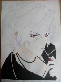 Субару Сакамаки цветными карандашами