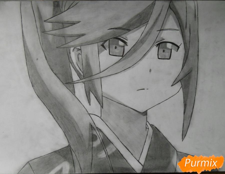 Рисуем Сузуно из аниме «Сатана на подработке» карандашом поэтапно