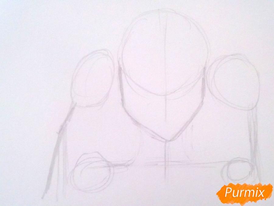 Рисуем титана Женскую Особь из аниме Атака Титанов карандашами - шаг 1