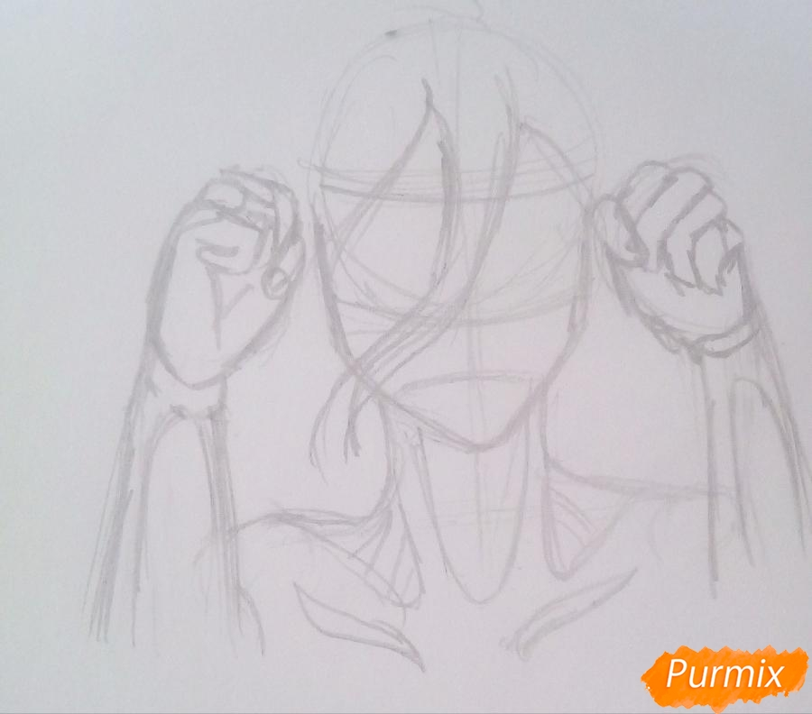 Рисуем титана Женскую Особь из аниме Атака Титанов карандашами - фото 3