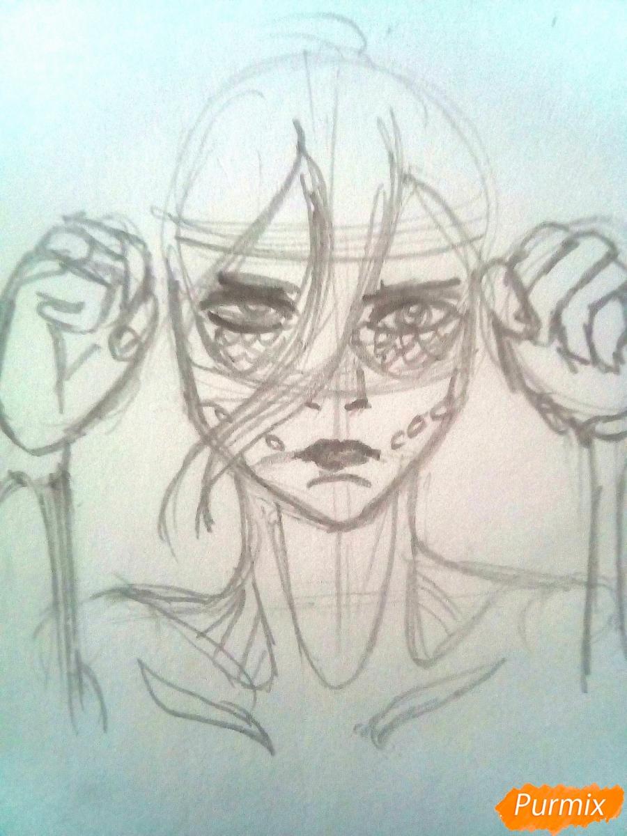 Рисуем титана Женскую Особь из аниме Атака Титанов карандашами - шаг 4