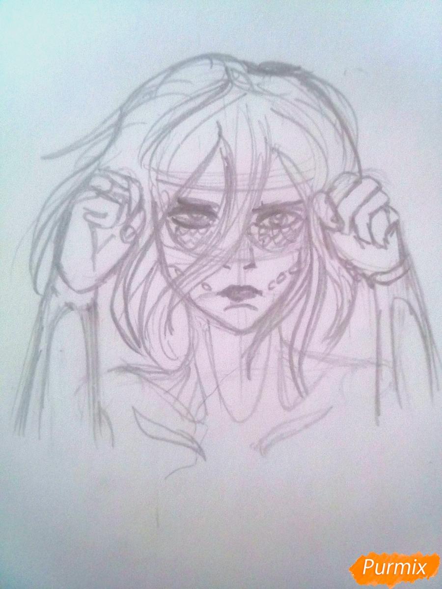 Рисуем титана Женскую Особь из аниме Атака Титанов карандашами - фото 5