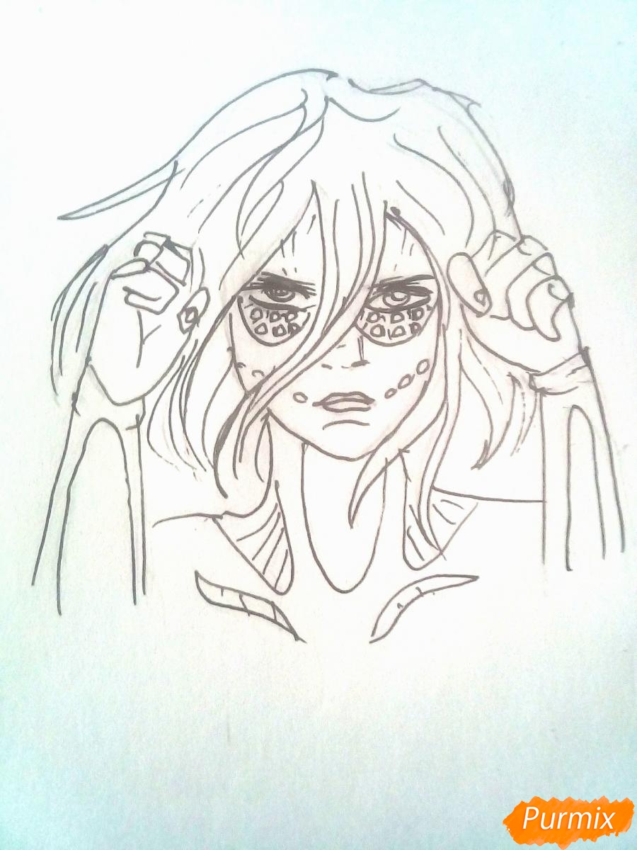Рисуем титана Женскую Особь из аниме Атака Титанов карандашами - шаг 6