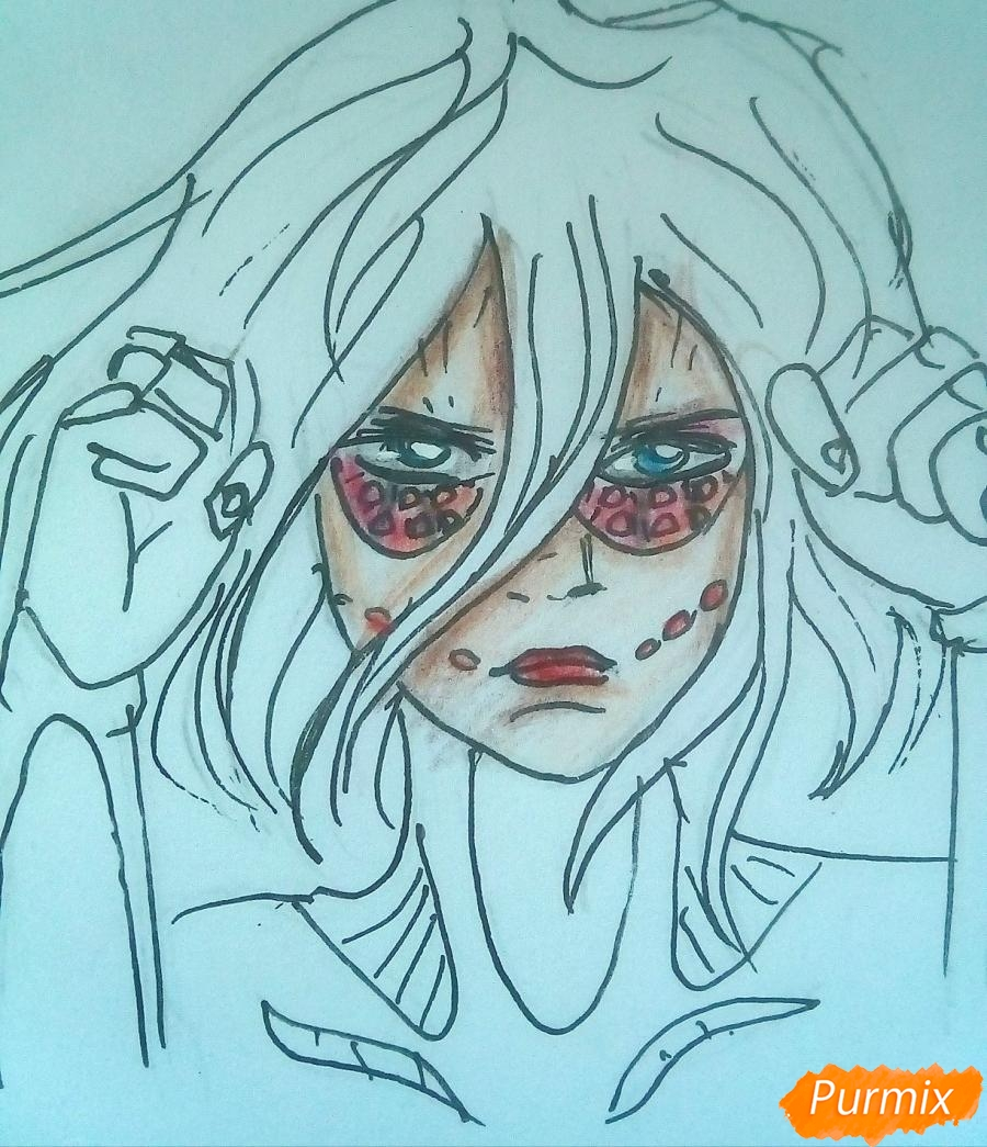 Рисуем титана Женскую Особь из аниме Атака Титанов карандашами - шаг 7