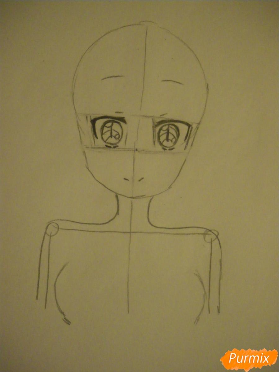 Рисуем Тору Кобаяши из аниме Дракон Горничная Кабаяши-сан карандашами - шаг 2