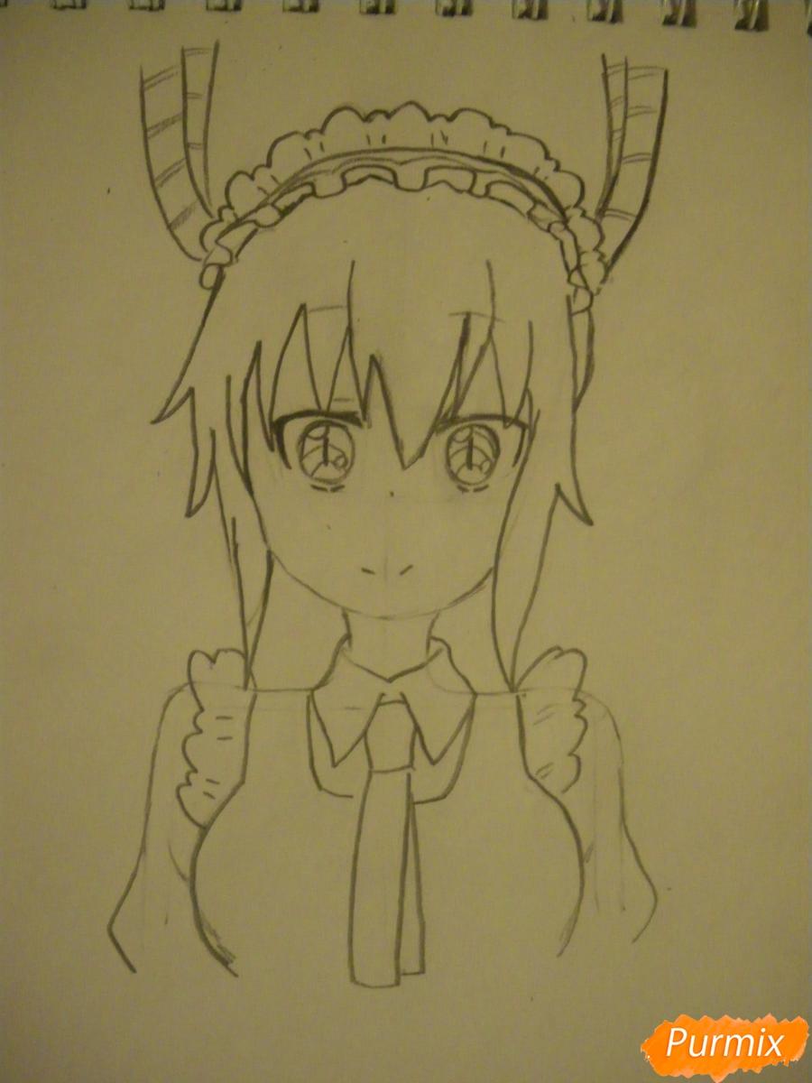 Рисуем Тору Кобаяши из аниме Дракон Горничная Кабаяши-сан карандашами - шаг 4