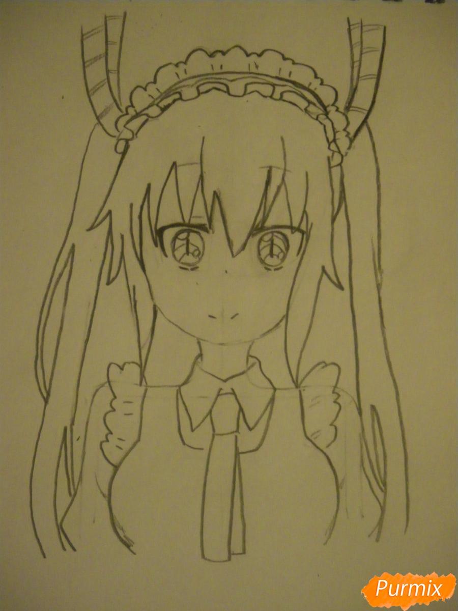 Рисуем Тору Кобаяши из аниме Дракон Горничная Кабаяши-сан карандашами - фото 5
