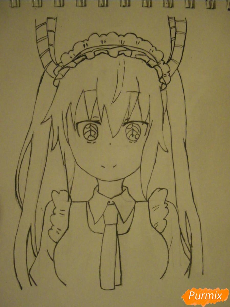 Рисуем Тору Кобаяши из аниме Дракон Горничная Кабаяши-сан карандашами - шаг 6