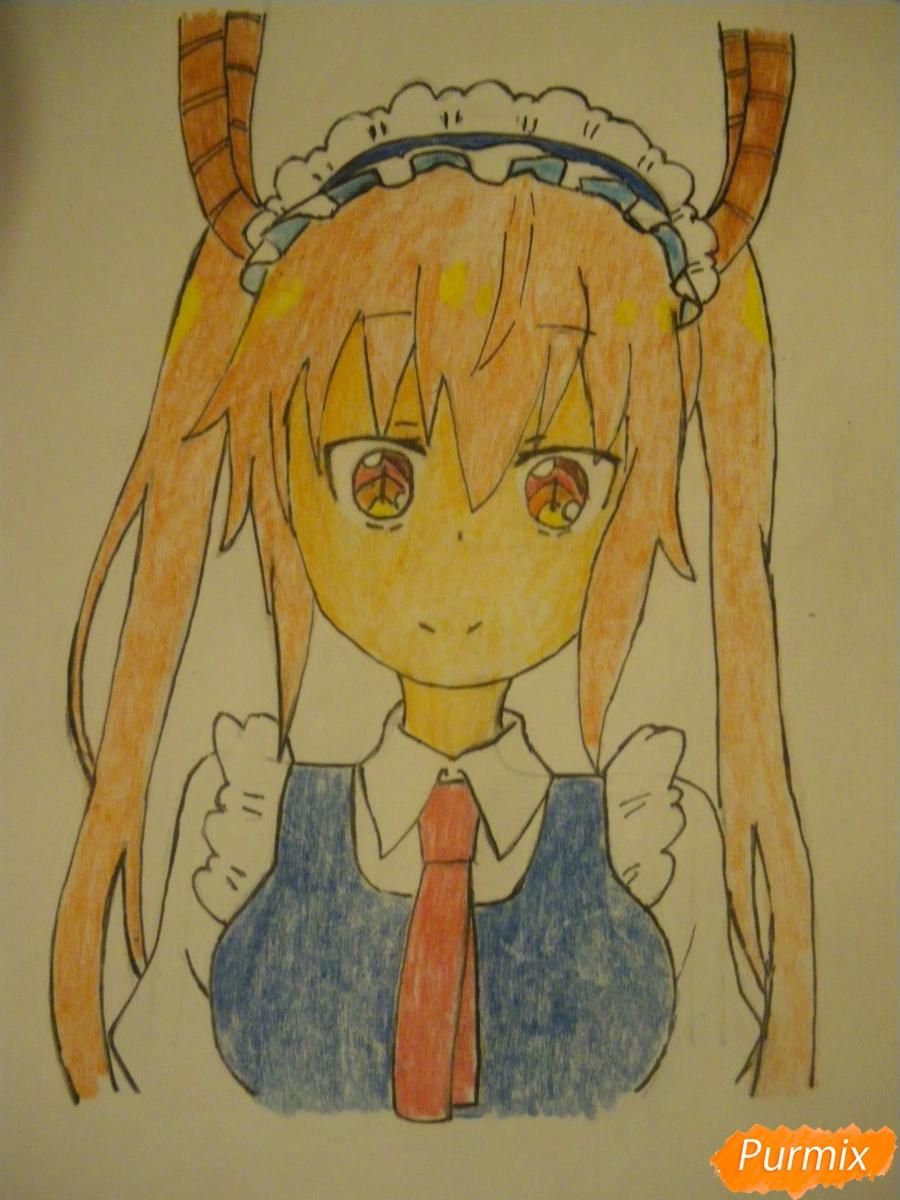 Рисуем Тору Кобаяши из аниме Дракон Горничная Кабаяши-сан карандашами - шаг 7