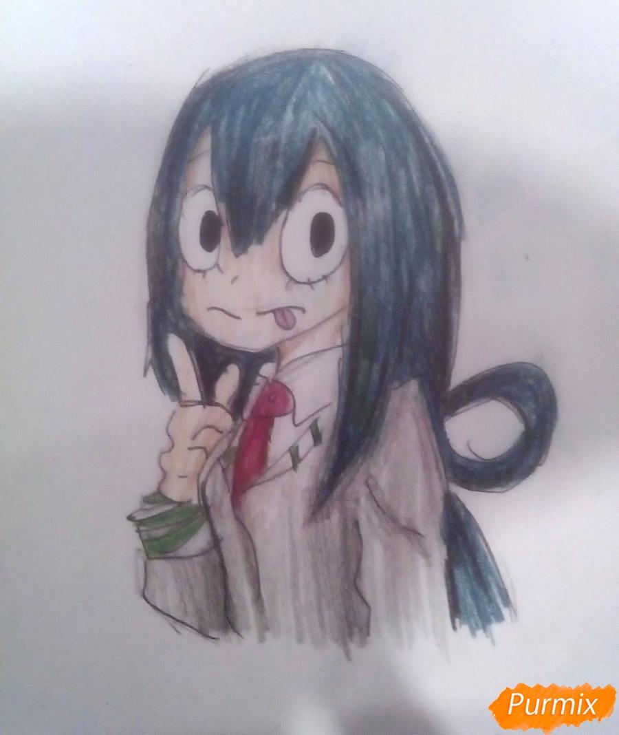 Как нарисовать Тсую Асуи из аниме Моя Геройская Академия карандашом поэтапно