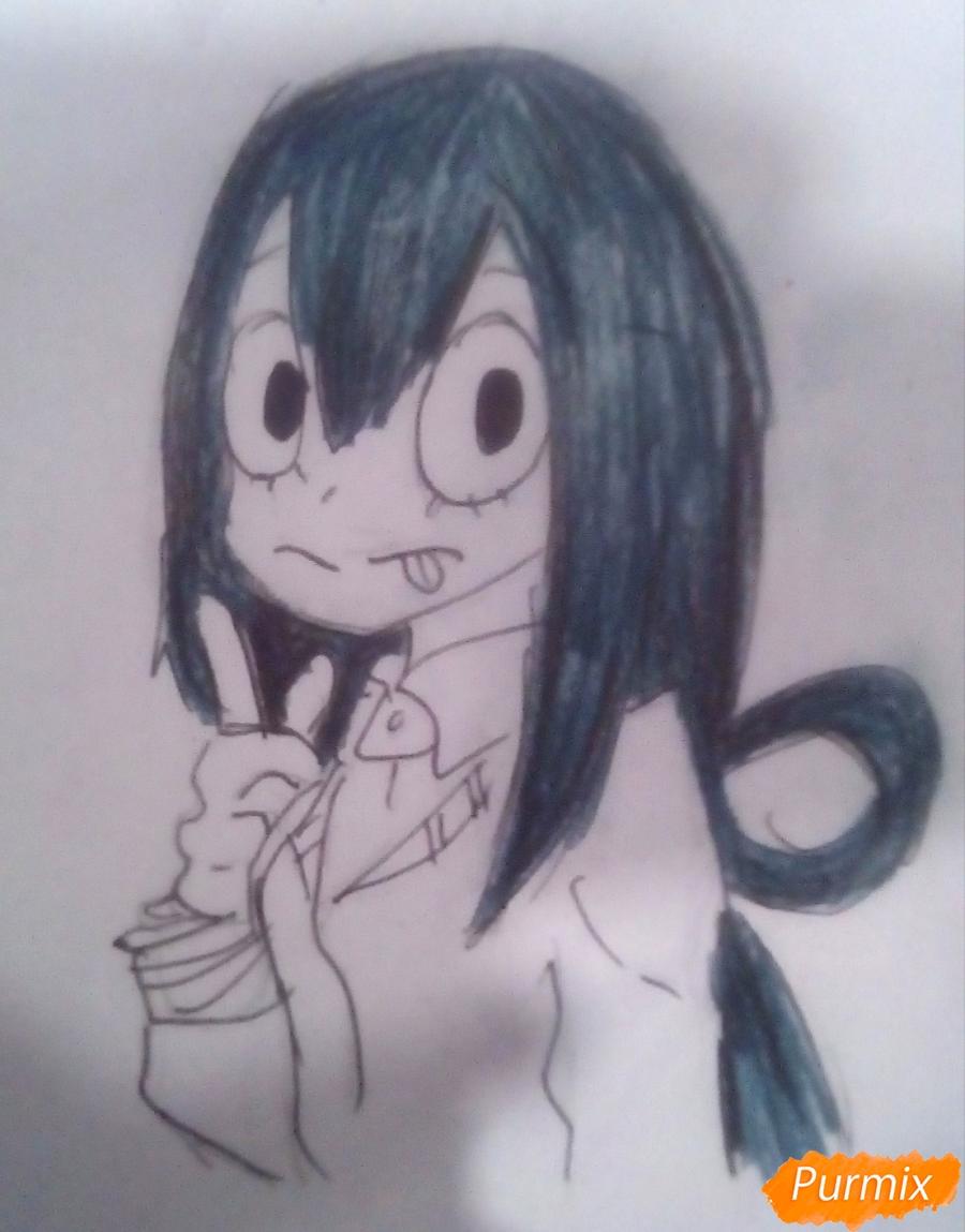 Рисуем Тсую Асуи из аниме Моя Геройская Академия - фото 8