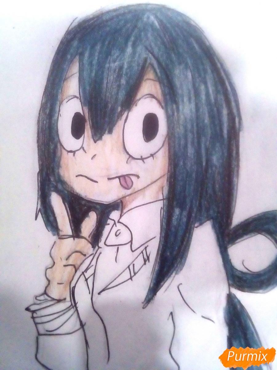 Рисуем Тсую Асуи из аниме Моя Геройская Академия - фото 9