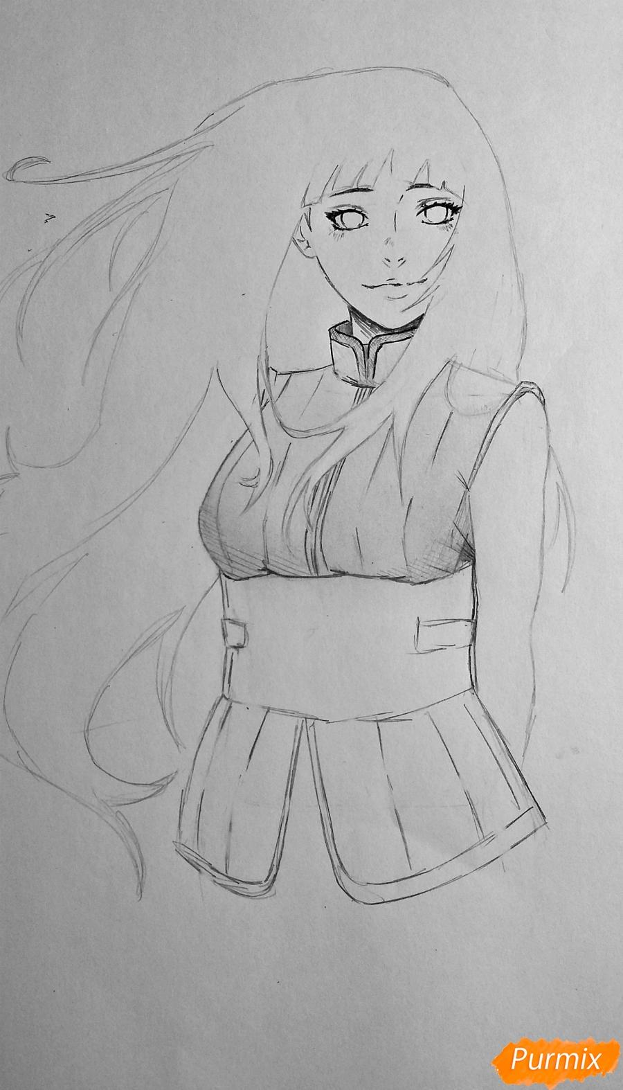 Рисуем взрослую Хинату Хьюгу из Наруто - шаг 10