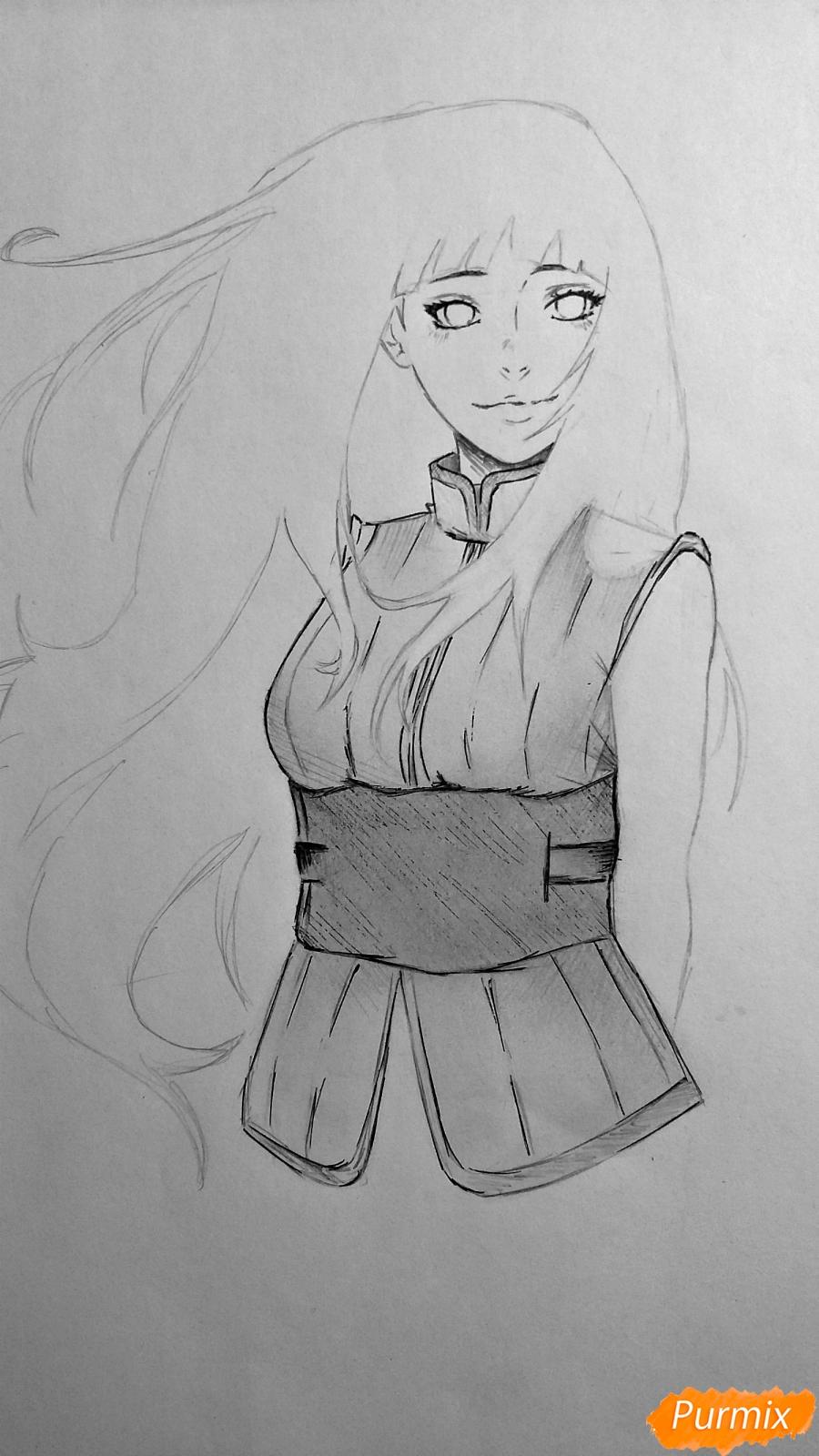 Рисуем взрослую Хинату Хьюгу из Наруто - шаг 11