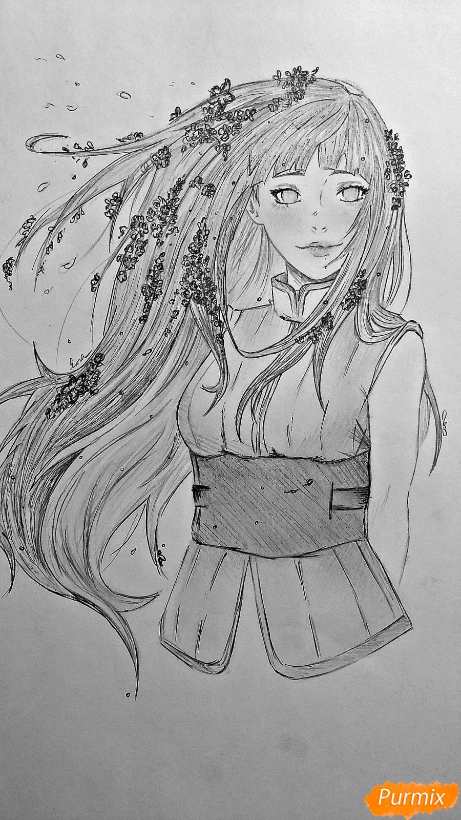 Как нарисовать взрослую Хинату Хьюгу из Наруто карандашом поэтапно