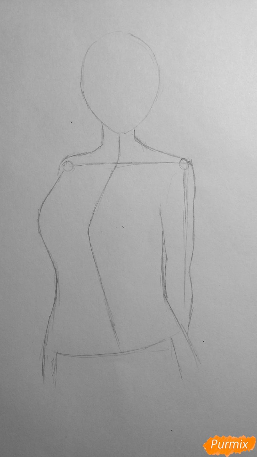 Рисуем взрослую Хинату Хьюгу из Наруто - шаг 2