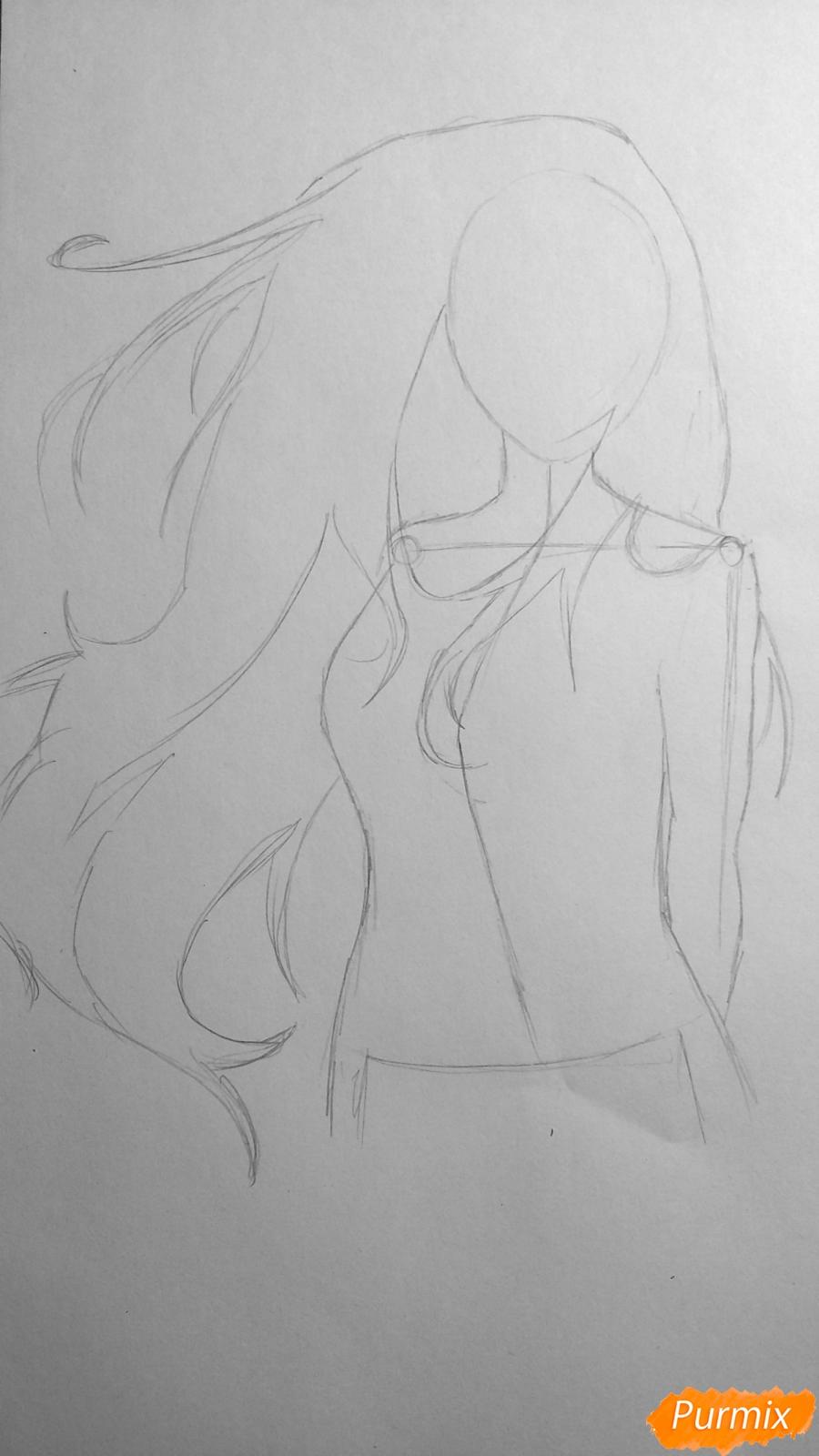 Рисуем взрослую Хинату Хьюгу из Наруто - шаг 3