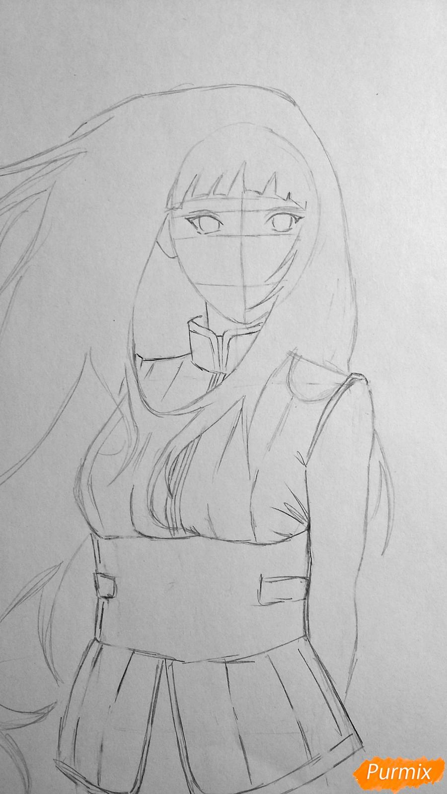 Рисуем взрослую Хинату Хьюгу из Наруто - шаг 7