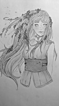 Рисунок взрослую Хинату Хьюгу из Наруто