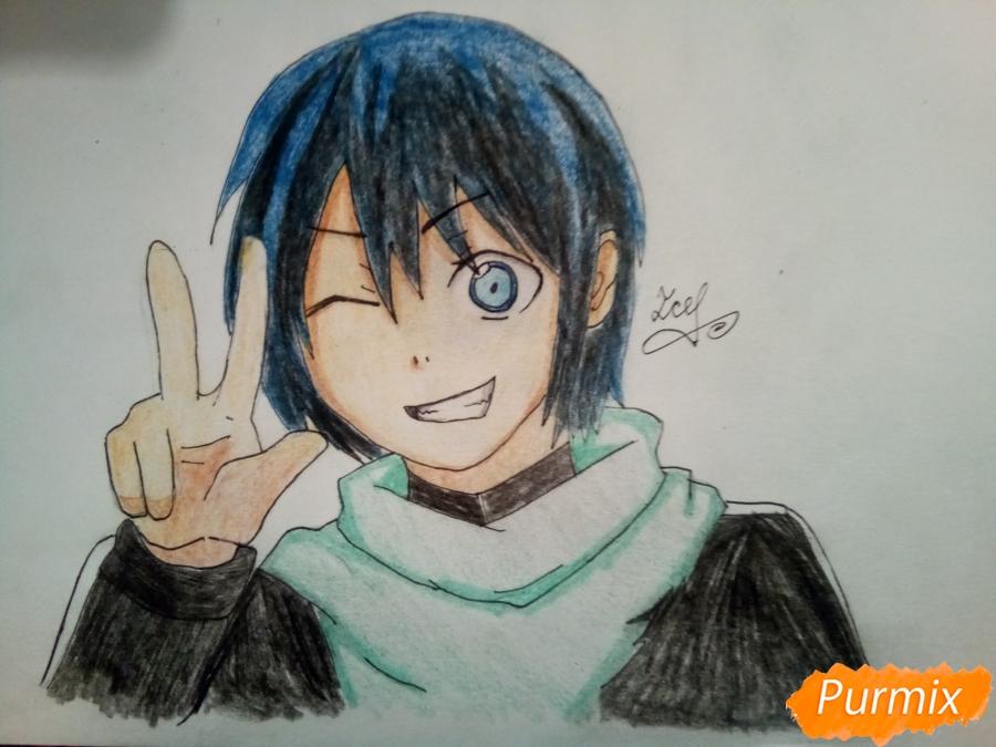 Рисуем Ято цветными карандашами - шаг 10