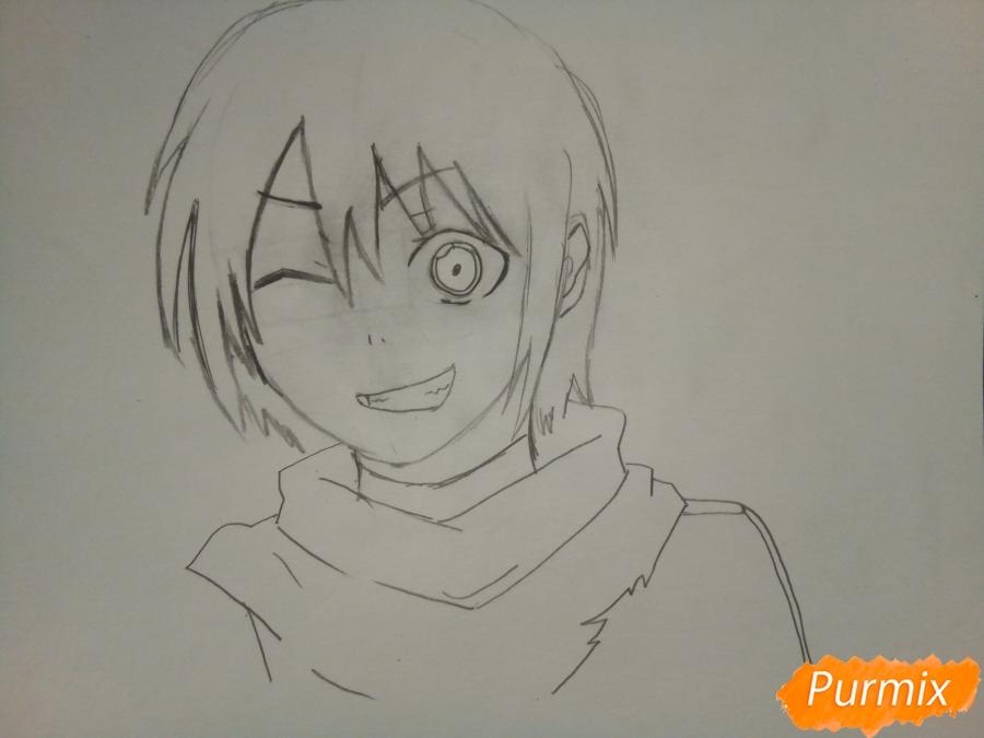 Рисуем Ято цветными карандашами - шаг 4