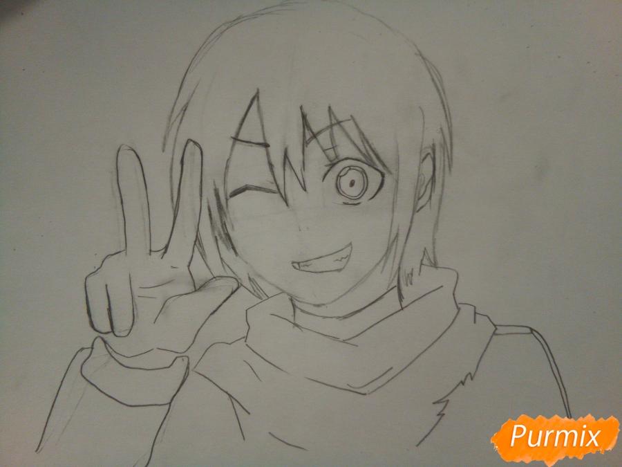 Рисуем Ято цветными карандашами - шаг 5