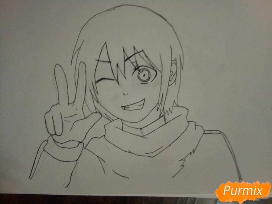 Рисуем Ято цветными карандашами - шаг 6