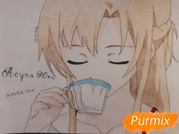 Рисуем Юки Асуну с чашкой - фото 10