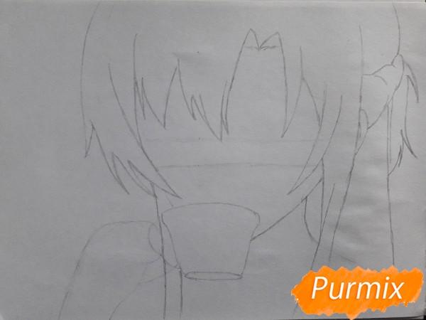 Рисуем Юки Асуну с чашкой - фото 2