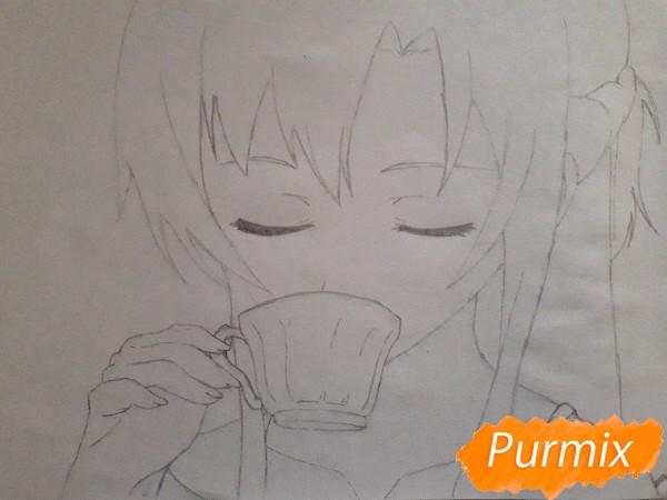 Рисуем Юки Асуну с чашкой - фото 4