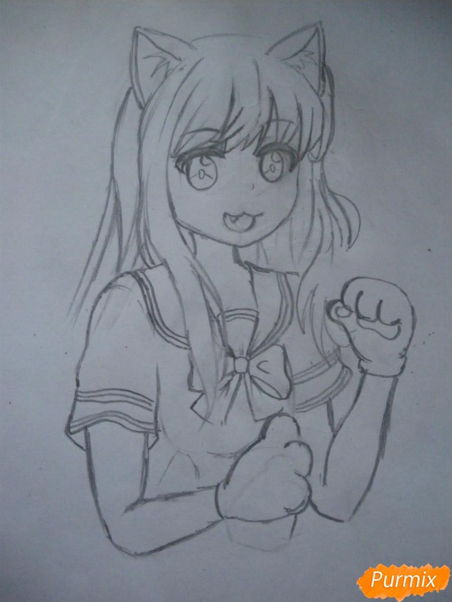Рисуем Юри Ёсикава карандашами - шаг 5