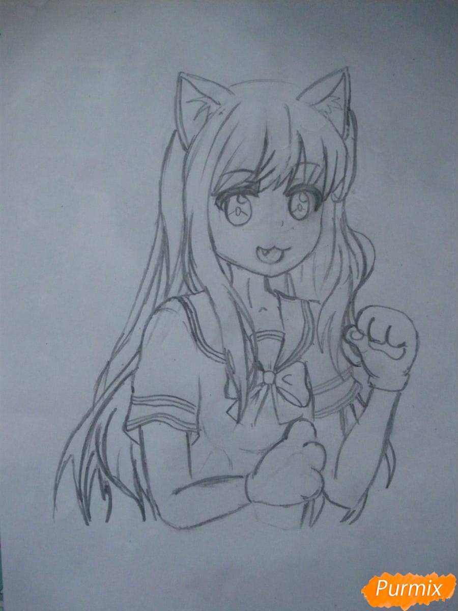 Рисуем Юри Ёсикава карандашами - шаг 6