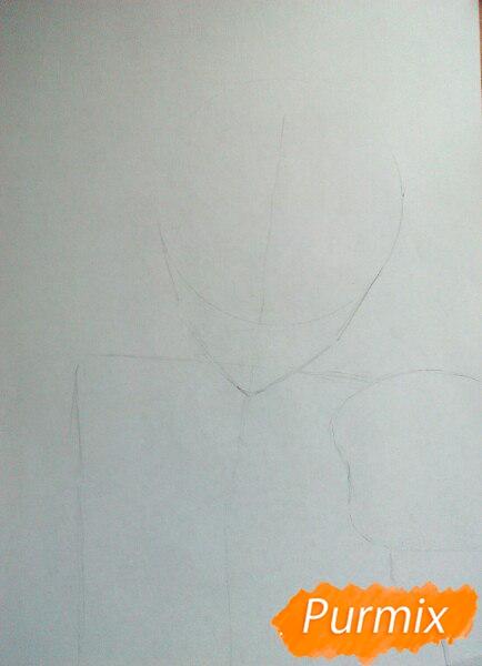 Рисуем Юрия Плисецкого цветными карандашами - шаг 1