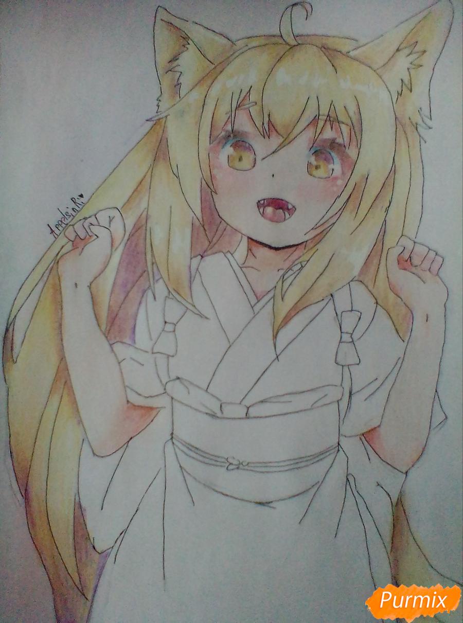 Как нарисовать Юзу из аниме Konohana Kitan карандашом поэтапно