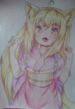 Рисунок Юзу из аниме Konohana Kitan