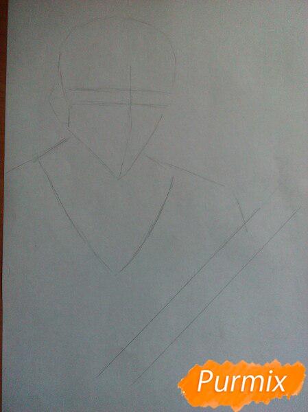 Как рисовать и раскрасить Куросаки Ичиго с мечем карандашами - шаг 1