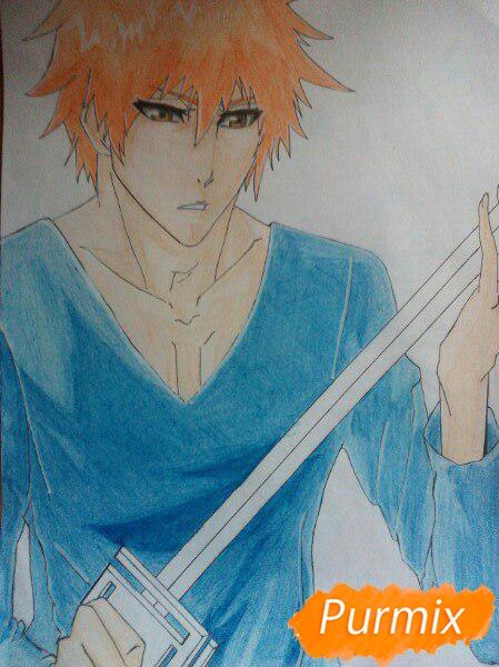 Как рисовать и раскрасить Куросаки Ичиго с мечем карандашами - шаг 11