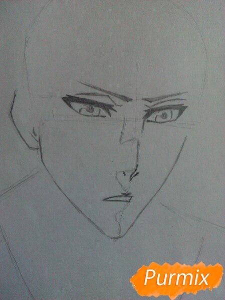 Как рисовать и раскрасить Куросаки Ичиго с мечем карандашами - шаг 2