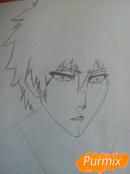 Как рисовать и раскрасить Куросаки Ичиго с мечем карандашами - шаг 3