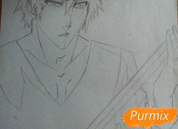 Как рисовать и раскрасить Куросаки Ичиго с мечем карандашами - шаг 5