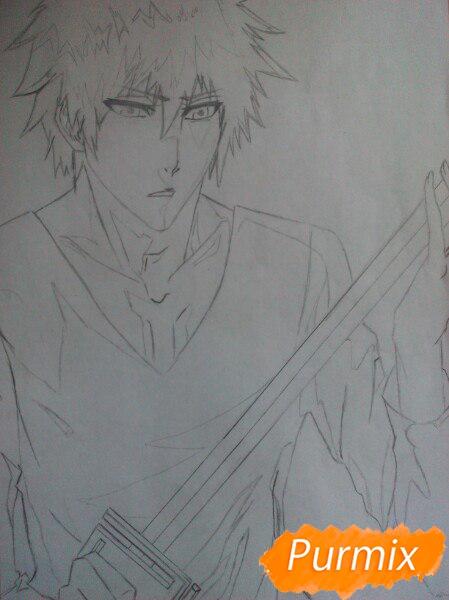 Как рисовать и раскрасить Куросаки Ичиго с мечем карандашами - шаг 6