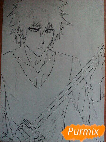 Как рисовать и раскрасить Куросаки Ичиго с мечем карандашами - шаг 7
